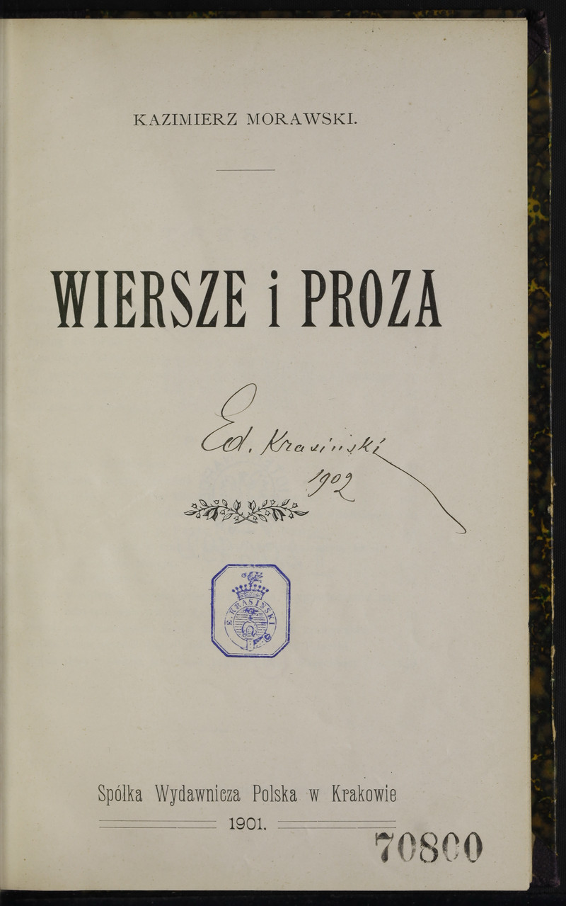 Wiersze I Proza Kazimierz Morawski Polona