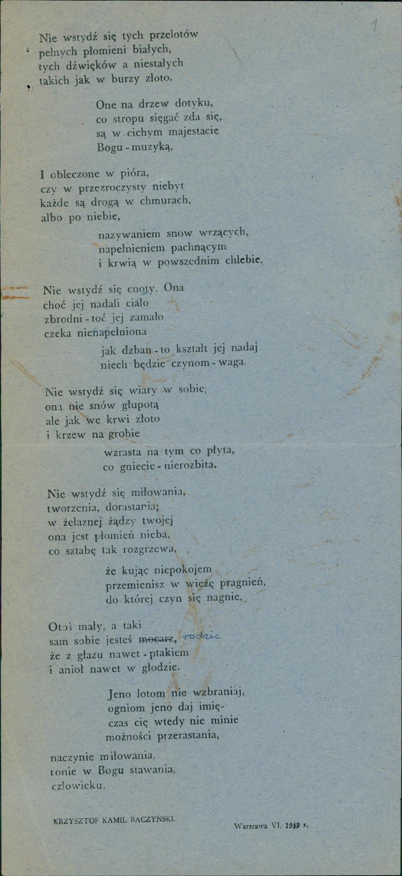 Baczyński Collection Created By Biblioteka Narodowa Polona