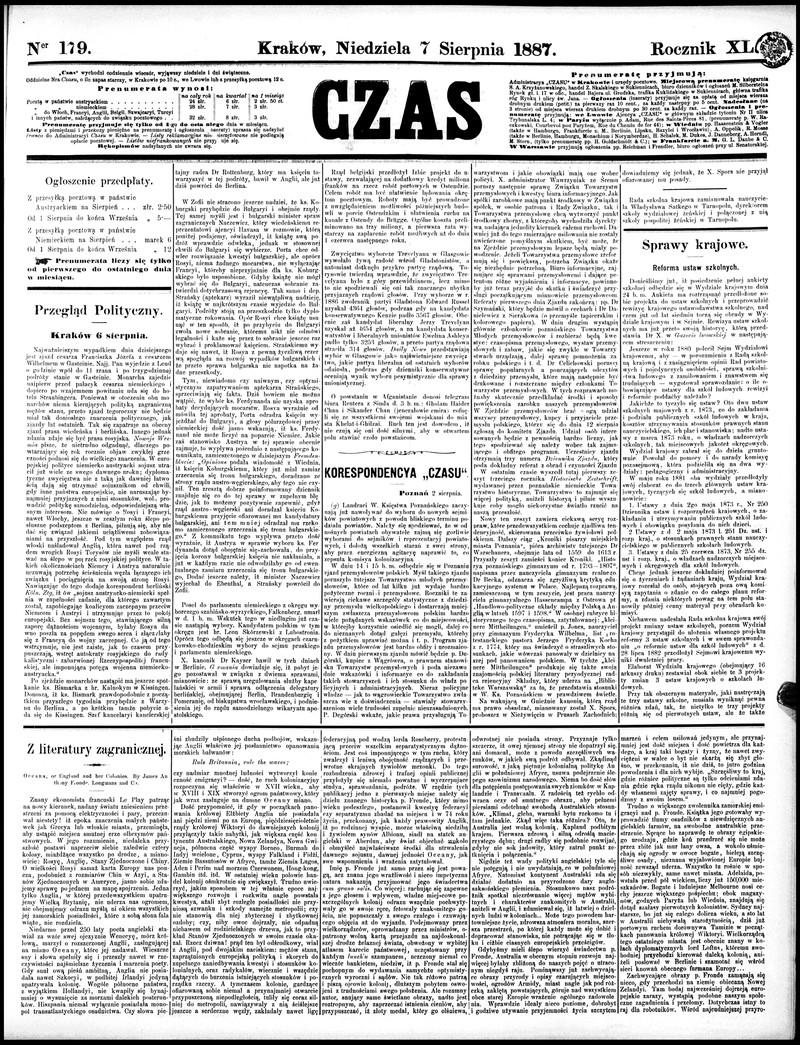 Czas Dziennik Poświęcony Polityce Krajowej I Zagranicznej