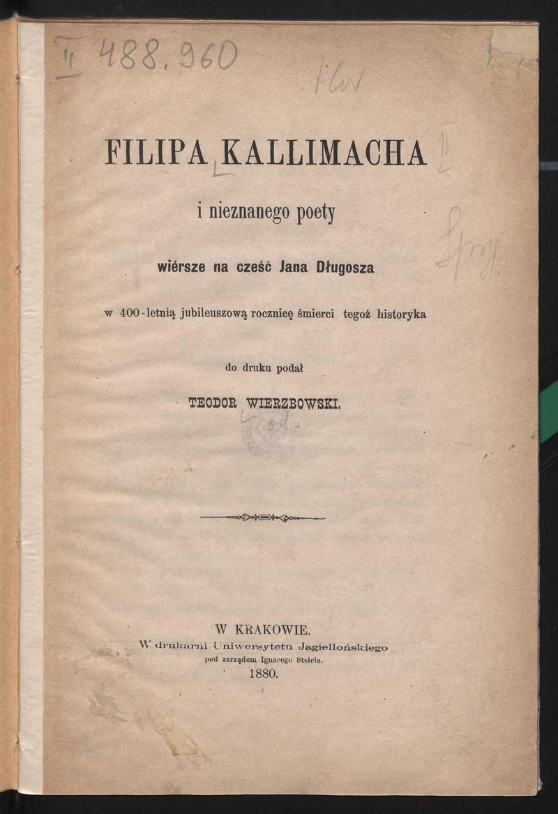 Filipa Kallimacha I Nieznanego Poety Wiersze Na Cześć Jana