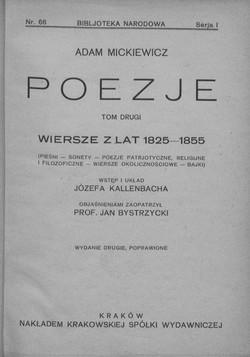 Poezje T 2 Wiersze Z Lat 1825 1855 Pieśni Sonety