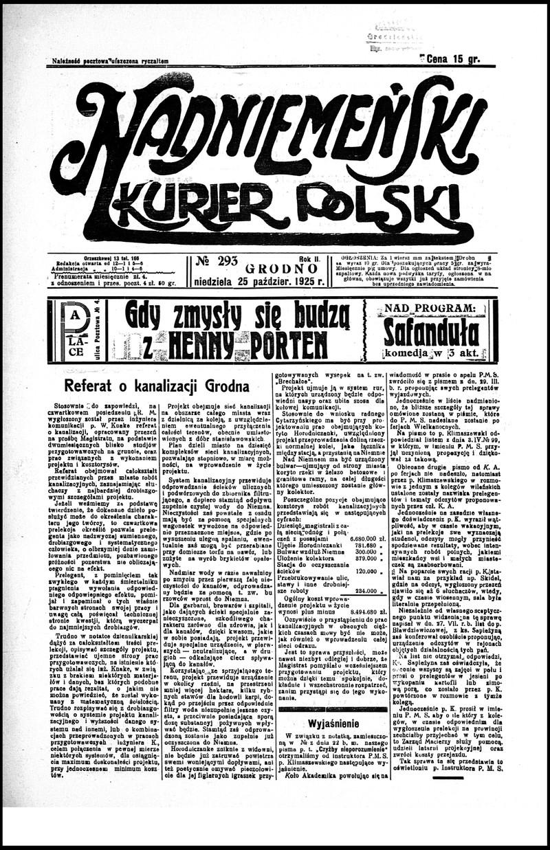 Nadniemeński Kurjer Polski R2 No 293 25 Października 1925