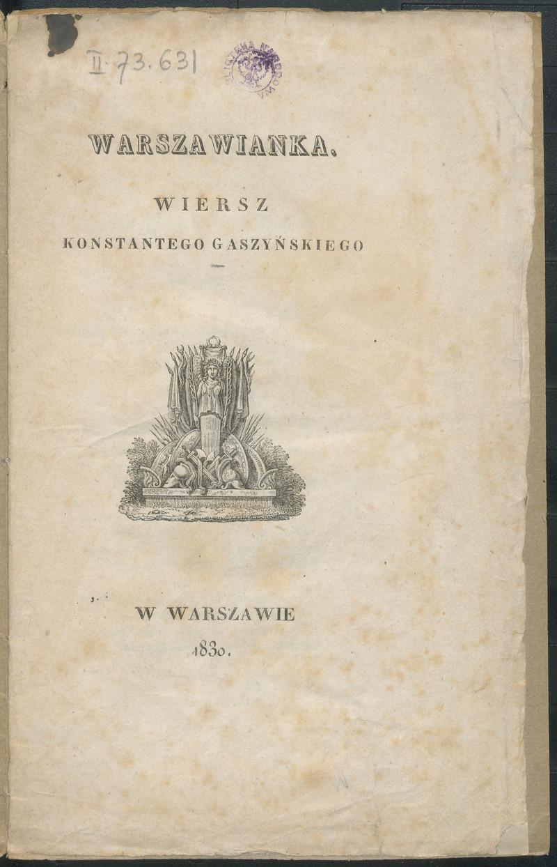 Warszawianka Wiersz Gaszyński Konstanty Polona