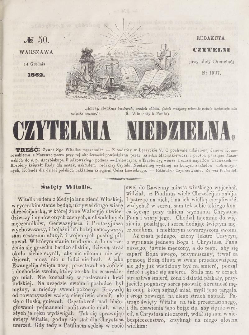 Czytelnia Niedzielna 1862 Nr 50 14 Grudnia Polona