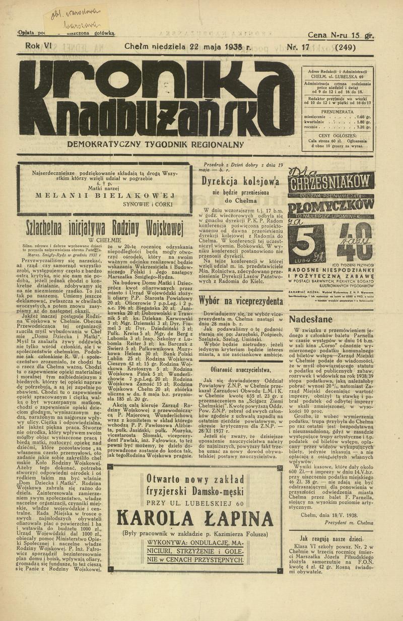 Kronika Nadbużańska Demokratyczny Tygodnik Regjonalny Chełm