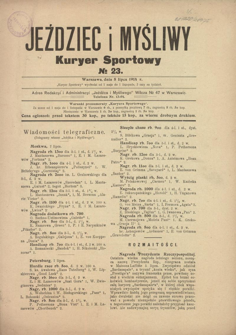 Jeździec I Myśliwy Kuryer Sportowy 1914 Nr 23 8 Lipca