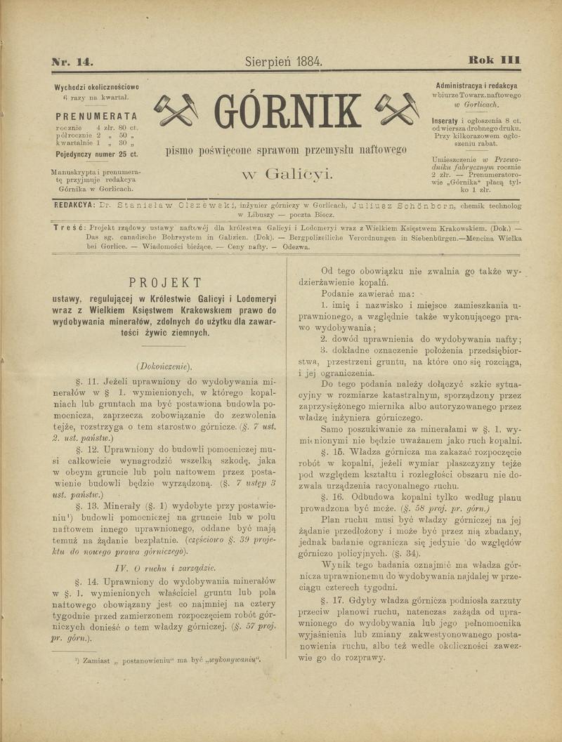 Górnik Pismo Poświęcone Sprawom Górnictwa Naftowego W