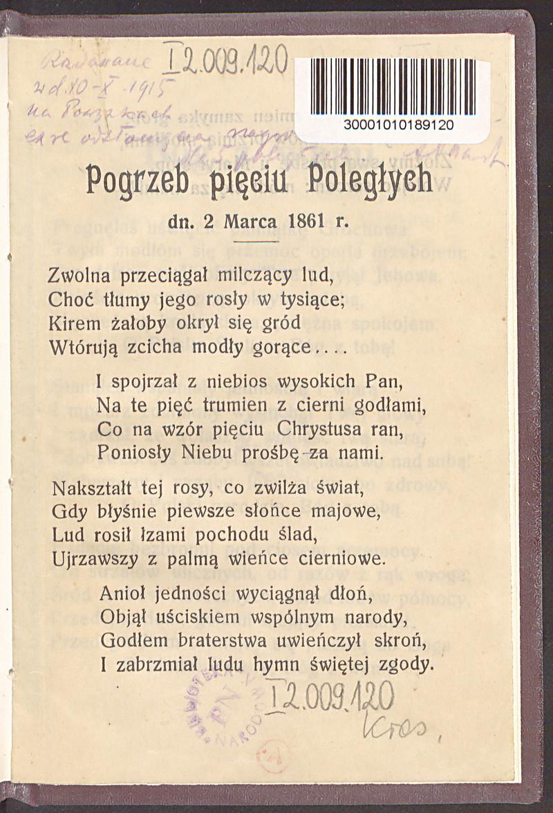 Pogrzeb Pięciu Poległych Dn 2 Marca 1861 R Wiersz