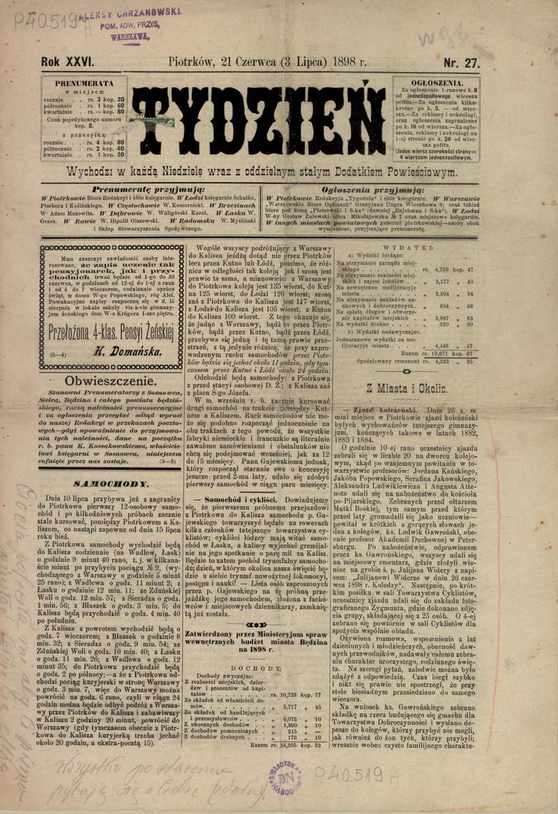 Tydzień R 26 Nr 27 3 Lipca 1898 Polona