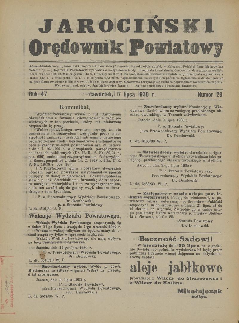 Jarociński Orędownik Powiatowy R 47 Nr 29 17 Lipca 1930