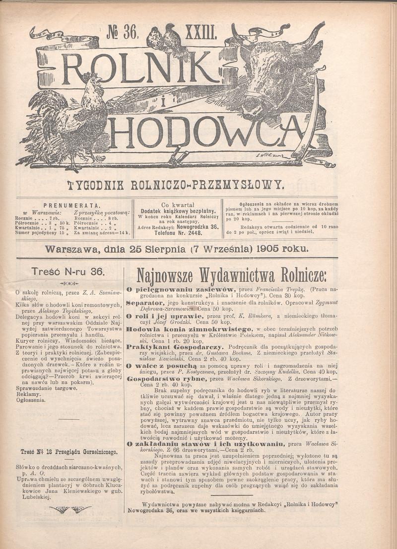 Rolnik I Hodowca Tygodnik Przemysłowo Rolniczy R 23 Nr
