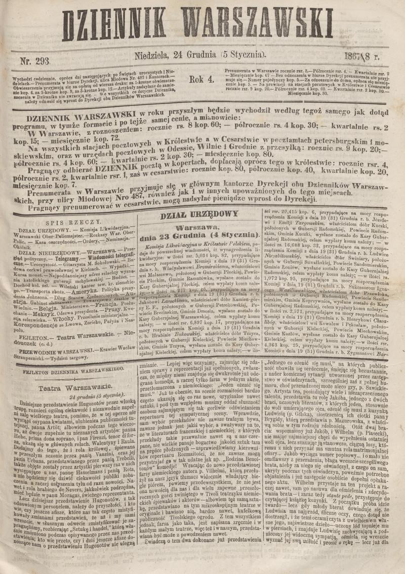 Dziennik Warszawski R4 Nr 293 5 Stycznia 1868 Polona