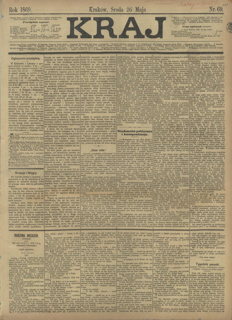 Kraj 1869 Nr 69 26 Maja Polona