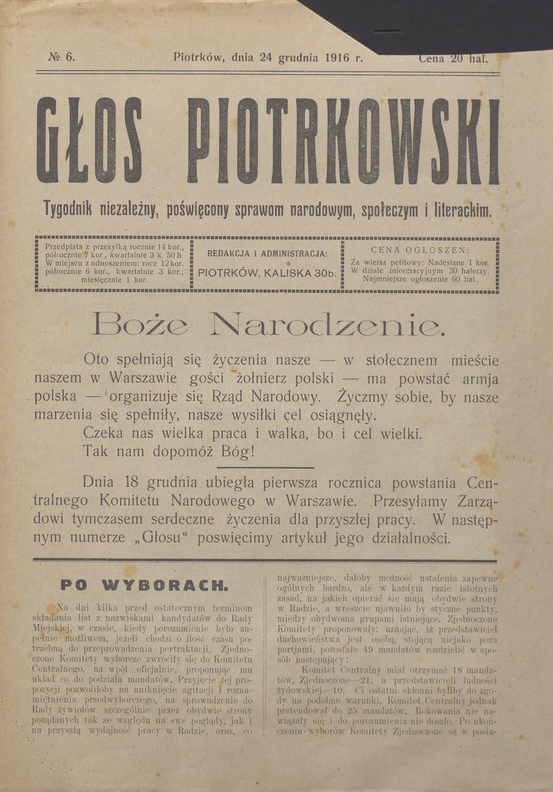 Głos Piotrkowski Tygodnik Niezależny Poświęcony Sprawom